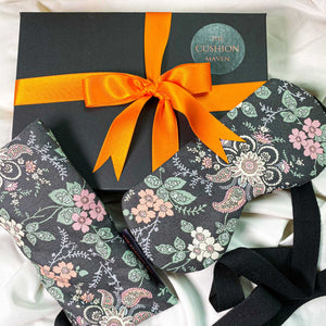 "Gift Box, Weighted Eye Pillow, Sleep Mask / Eye Mask in Liberty of London cotton, ""Sleep Black Magic"""