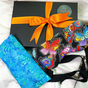 "Gift Box, Weighted Eye Pillow, Sleep Mask / Eye Mask in pure cotton, ""Madam Butterfly"""