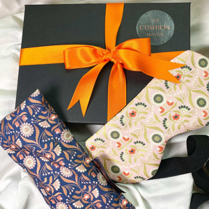 "Gift Box, Weighted Eye Pillow, Sleep Mask / Eye Mask in Liberty of London cotton, ""Rose Gold Peach"""