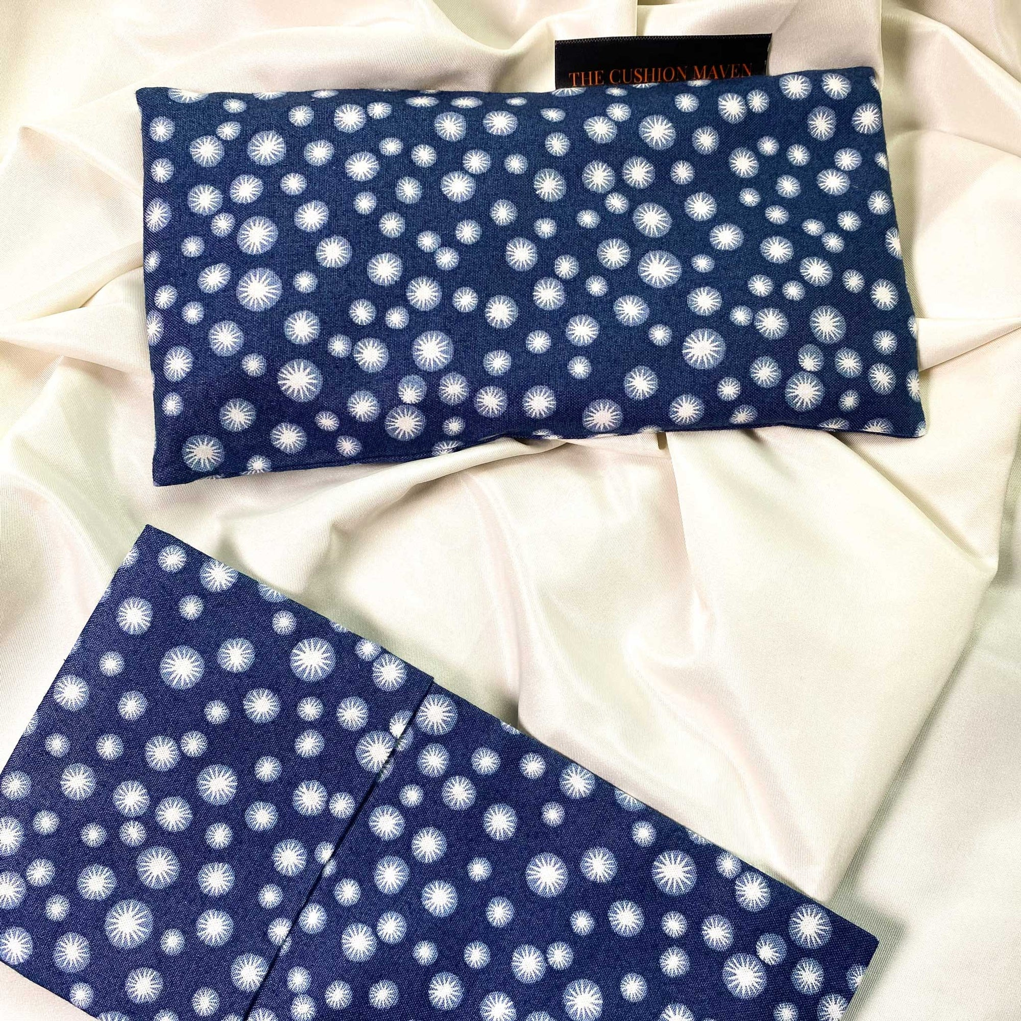 "Cotton Weighted Eye Pillow / Yoga Eye Pillow, ""Navy Star"""