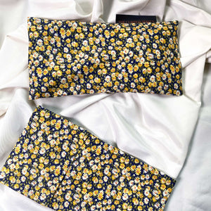 "Cotton Weighted Eye Pillow / Yoga Eye Pillow, ""Daisy Noir"""