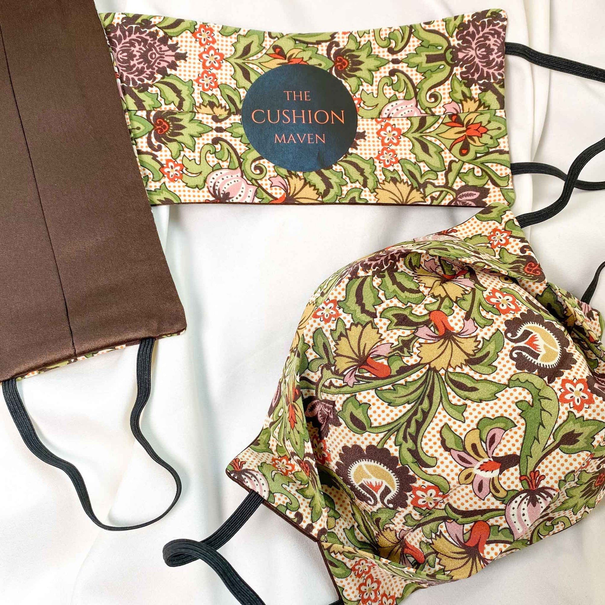 "Reversible & Reusable Liberty of London Cotton & Mulberry Double Silk Face Mask, ""Forest Coco"""