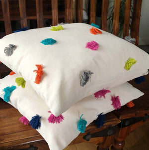 "Handmade cushion - 20"" calico pom-pom tassels cushion -"