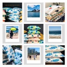 Load image into Gallery viewer, Handmade cushion - blue and white fish motif