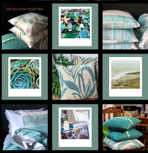 Handmade cushion cover - teal and white seascape collage