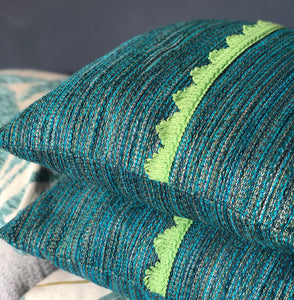 Handmade cushion - teal and lime green scallop trim