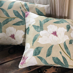 Handmade cushion cover - teal & white peonies