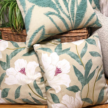 "Load image into Gallery viewer, Handmade cushion cover - 20"" teal and cream woven leaves"