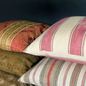 Handmade cushion - pink, cream and grey striped cushion cushion -