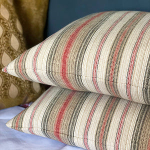 "Handmade cushion - 20"" striped grey, red & cream woven cushion -"