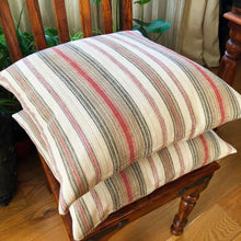 "Load image into Gallery viewer, Handmade cushion - 20"" striped grey, red & cream woven"