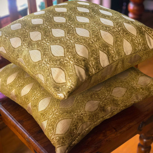 Handmade cushion - gold leaves light faux fur