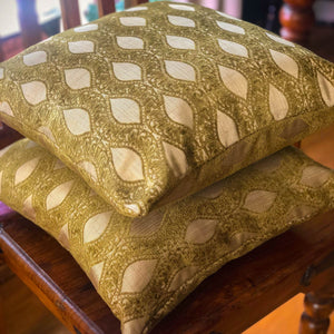 Handmade cushion - gold leaves light faux fur cushion -