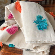 Load image into Gallery viewer, Handmade cushion cover - calico pom-pom tassels fabric