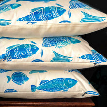 Load image into Gallery viewer, Handmade cushion cover - blue and white fish motif