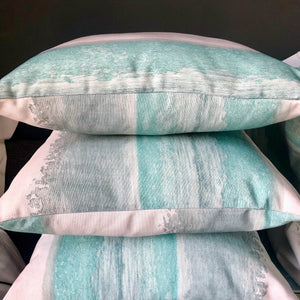 Handmade cushion - teal and white seascape cushion -