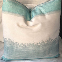 Load image into Gallery viewer, Handmade cushion - teal and white seascape cushion -
