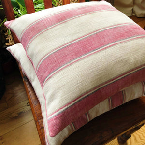 Handmade cushion cover - pink, cream and grey striped cushion