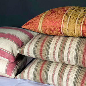 "Handmade cushion - 20"" striped grey, red & cream woven"