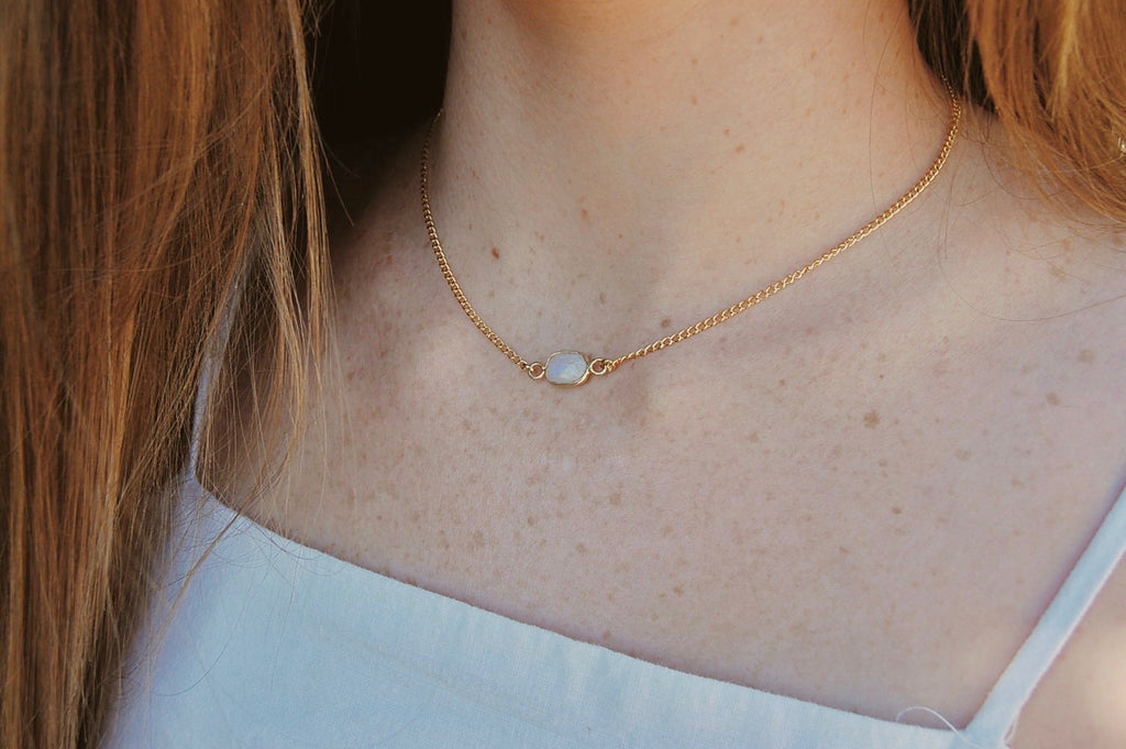 Full Moon Necklace in Gold