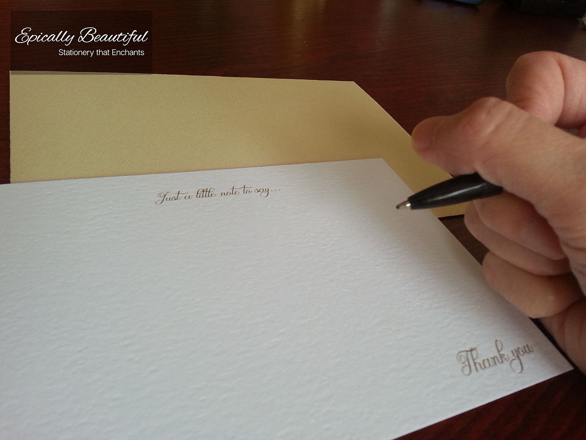 Just a little note to say thank you | Luxury Gold Foil Notecards