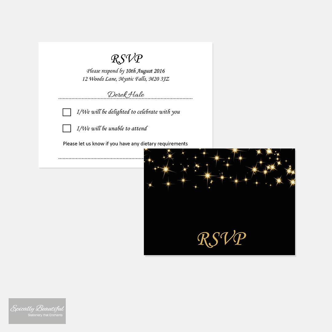 RSVP Cards | Starry Champagne Sky