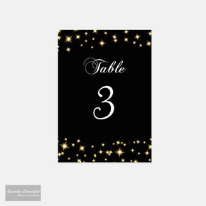 Table Number Cards | Starry Champagne Sky