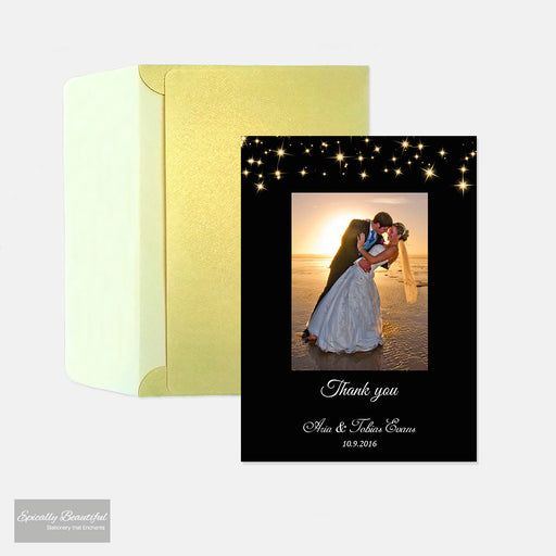 Personalised Photo Thank you card | Starry Champagne Sky