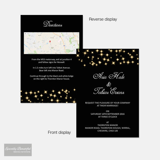 Wedding Invitation & Info Card | Starry Champagne Sky
