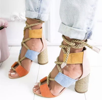 SUEDE CASUAL LACE UP SANDALS