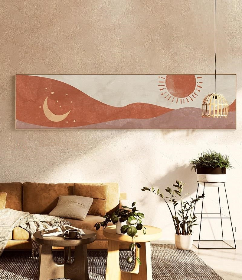 LONG SUN AND MOON CANVAS WALL ART