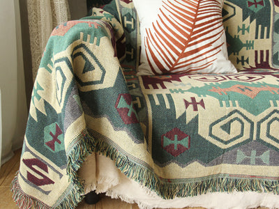 Green Artisanal Carpet Sofa Blanket