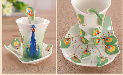 Peacock Ceramic Coffee Cup
