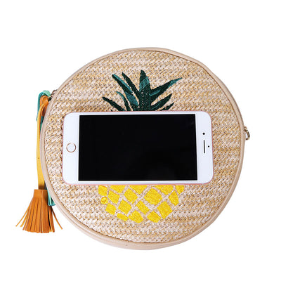 Woven Straw Round Clutches | Pineapple Leaf