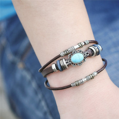 Vintage Flower& Multiple Layers Leather Bracelets