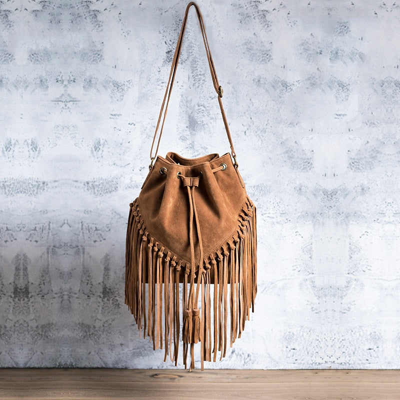 Leather Women Tassel Bag