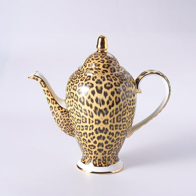 Luxury Leopard Print Bone China Coffee Tea Mug Set