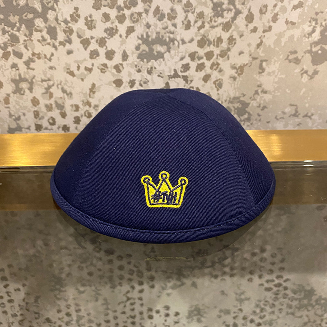 Yarmulka / Navy with Yellow Crown