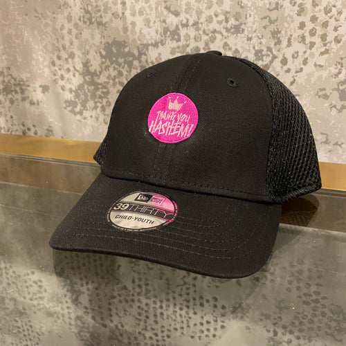 Cap / Youth Black Cap with Pink logo