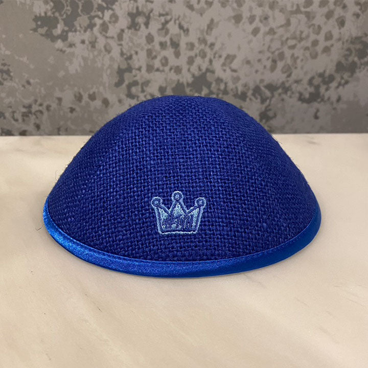 Yarmulka / Blue Burlap with Blue Crown