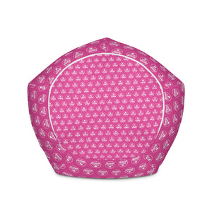 Bean Bag Chair w/ filling - Pink & White Logo
