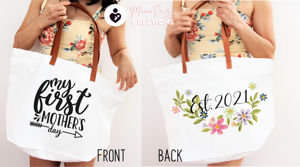 """My First Mother's Day"" Tote Bag, Gift for her, Mom's Gift, Personalized Gift, Custom Designs - MamaBuzz Creations"