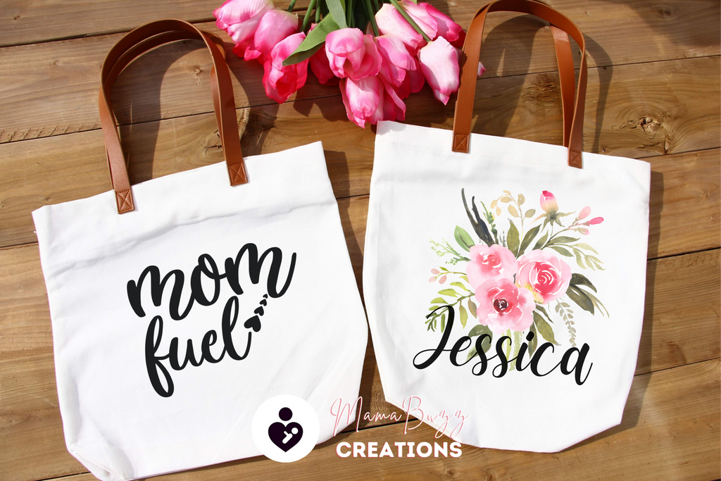 """Mom Fuel"" Tote Bag, Gift for her, Mom's Gift, Personalized Gift, Custom Designs - MamaBuzz Creations"