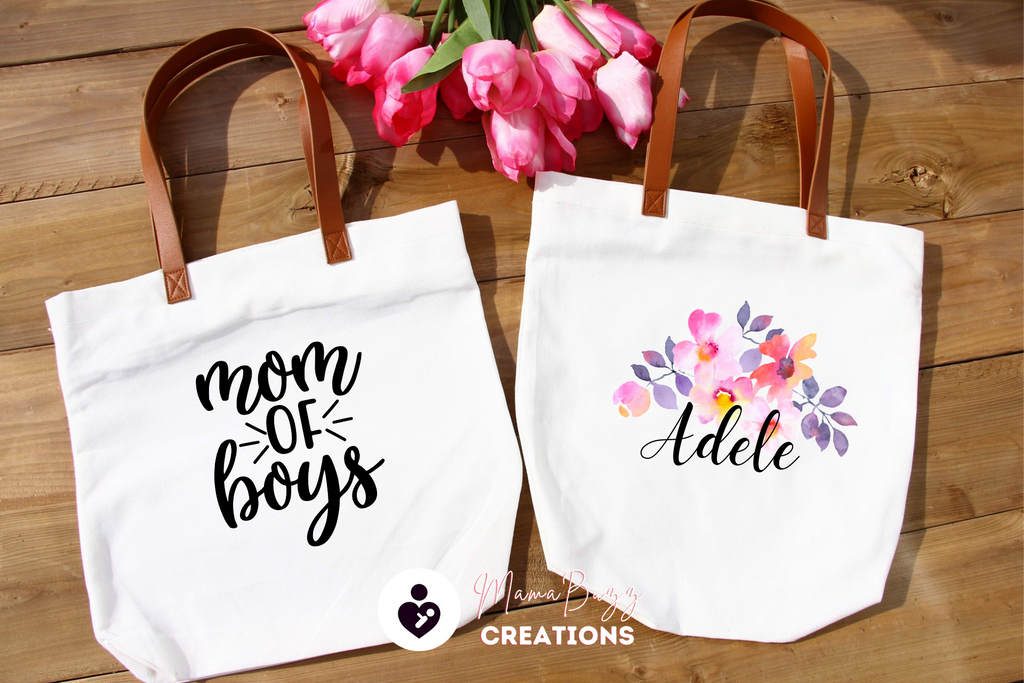 """Mom of Boys "" Tote Bag, Gift for her, Mom's Gift, Personalized Gift, Custom Designs - MamaBuzz Creations"