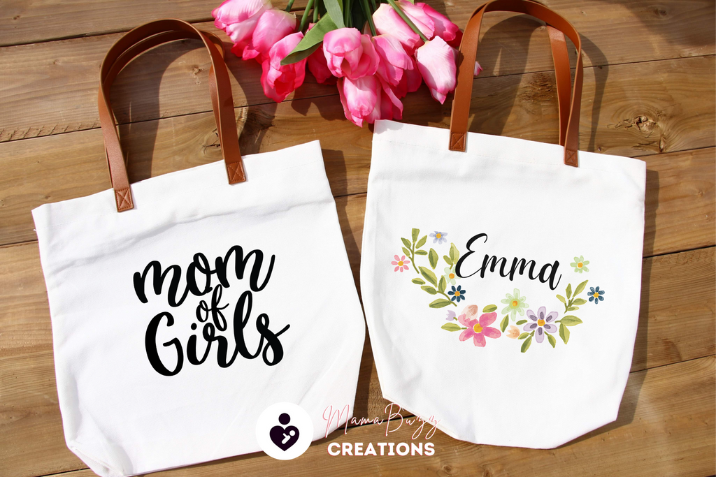 "Copy of ""Mom of Girls "" Tote Bag, Gift for her, Mom's Gift, Personalized Gift, Custom Designs - MamaBuzz Creations"