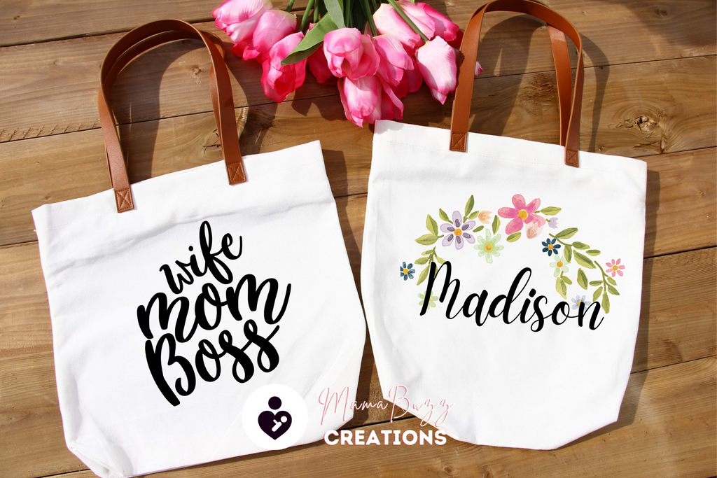 """Wife-Mom-Boss"" Tote Bag, Gift for her, Mom's Gift, Personalized gifts, Gifts for her - MamaBuzz Creations"