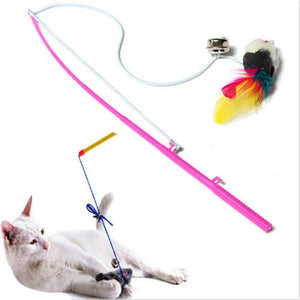 Steel Wire Feather Teaser Wand Plastic Toy Wine Whiskers