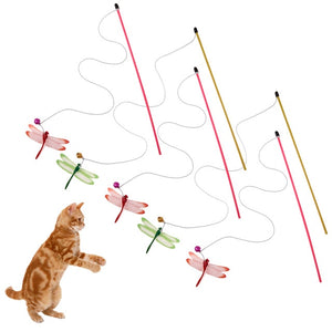 Dragonfly Wire Wand Stick Toys for Cat Wine Whiskers