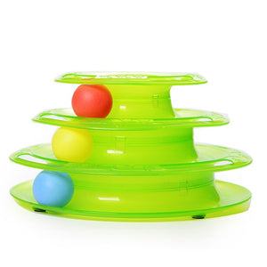 Three Levels Tower Tracks Disc Cat Toy Wine Whiskers