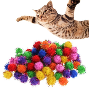 Sparkly Glitter Tinsel Balls Cat Toys Wine Whiskers